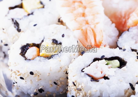 sushi over plate