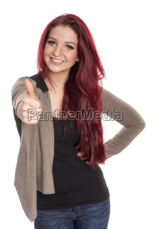 beautiful red haired woman shows thumbs