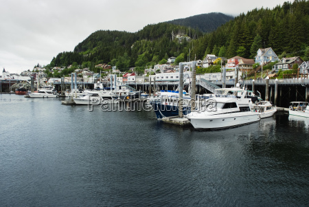 quiet moorage and homes on the