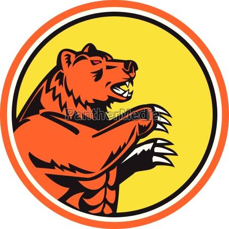 california grizzly bear side circle retro