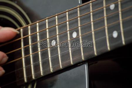 guitar fretboard closeup