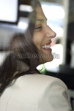 woman laughing close up