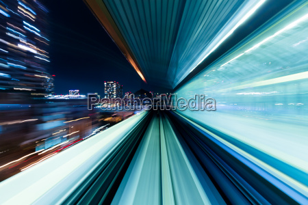 motion blur of train moving inside