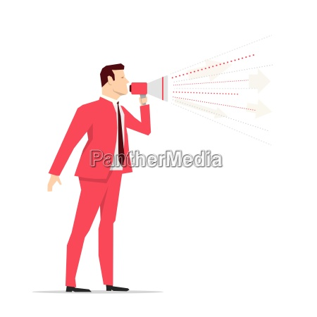 red suit businessman megaphone vector concept