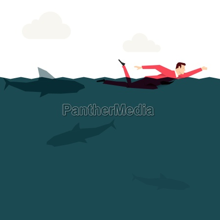 red suit businessman in the ocean