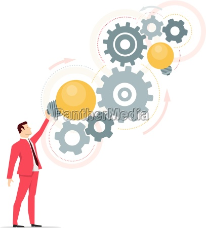 red suit businessman right ideas vector