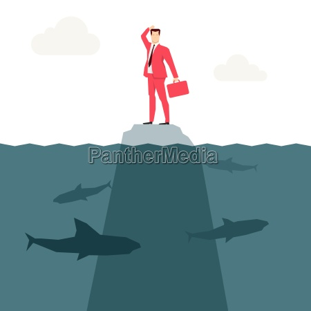 red suit businessman and sharks vector