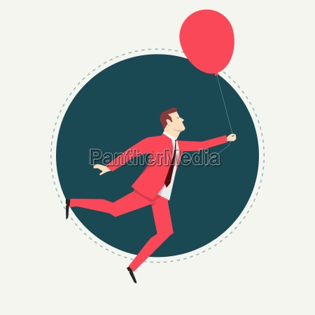 businessman, in, red, suit., balloon., flat - 16704932