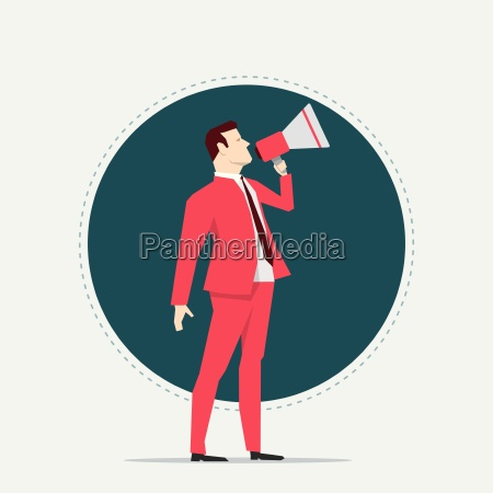 businessman, in, red, suit., megaphone., flat - 16704906