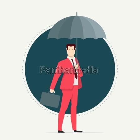 businessman, in, red, suit., umbrella., flat - 16704922