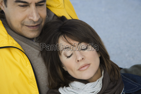 mature couple relaxing outdoors
