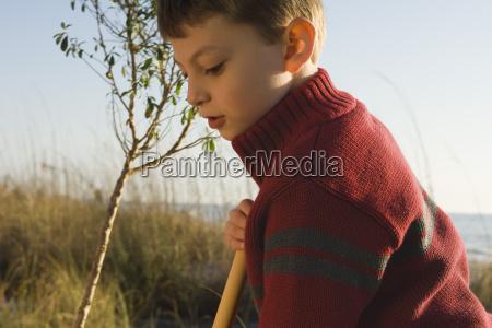 boy exploring outdoors