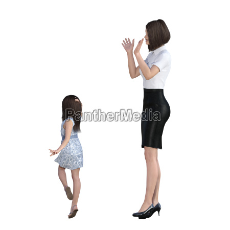 mother daughter interaction of girl posing