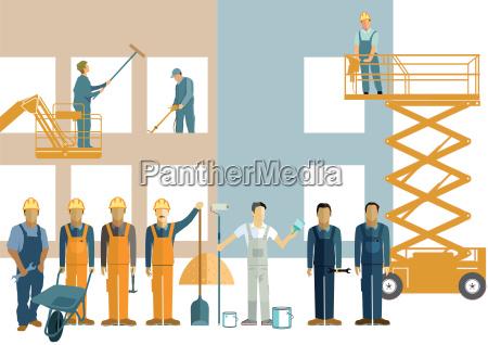 construction site craftsmen