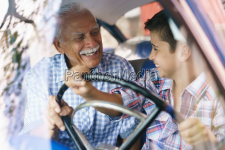 old man grandpa gives driving class