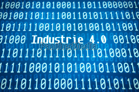 binary code with the word industry