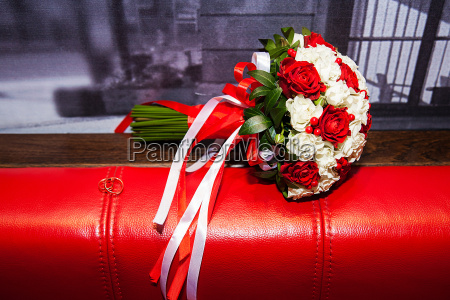 bouquet of white and red roses