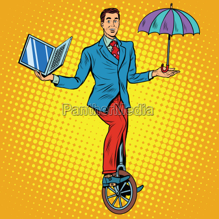 businessman on unicycle business balance