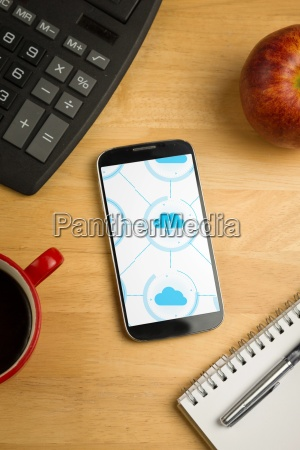 smartphone with cloud computing apps on