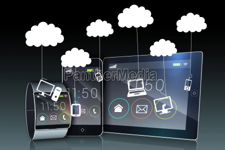 media device screens showing cloud computing