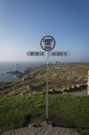 uk england cornwall signpost at lands