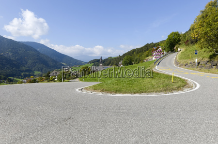 italy south tyrol dolomites winding road