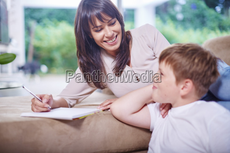 mother and son in living room