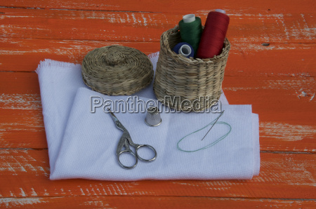fabric with objects for sewing and