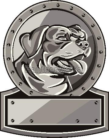 rottweiler guard dog shield metallic circle