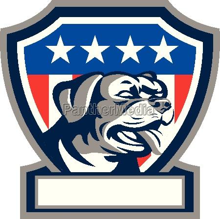 rottweiler guard dog usa flag crest