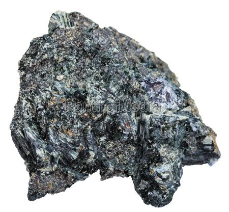gray crystal of molybdenite on glaucophane