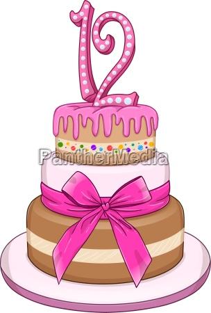 pink bat miztvah cake for 12th