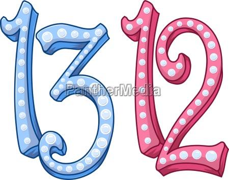 pink blue shiny number 12 13