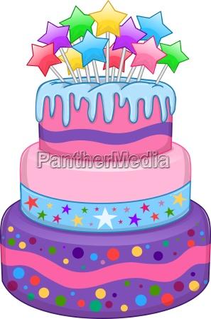 three floors cake with stars