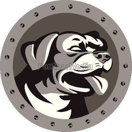 rottweiler guard dog head metallic circle