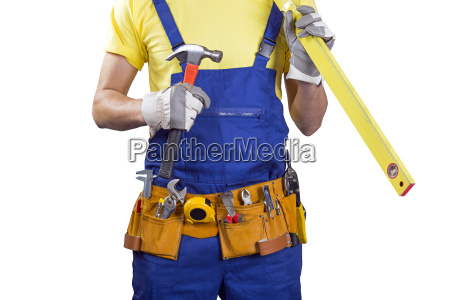 construction worker with belt and tools