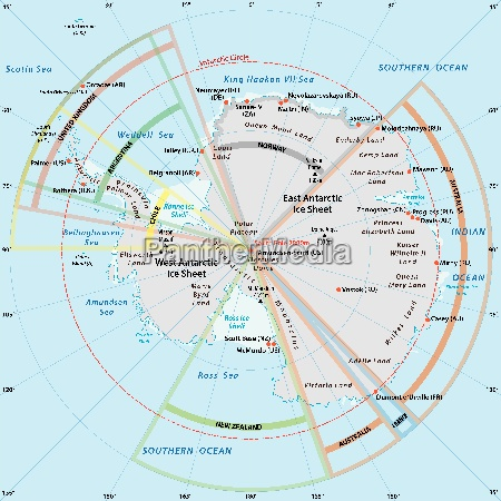 political map of antarctica with the