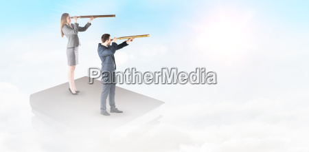 composite image of businesswoman looking through