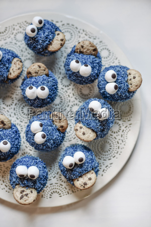 cookie monster muffins on a plate