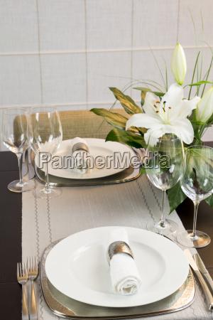 festive laid dinner table