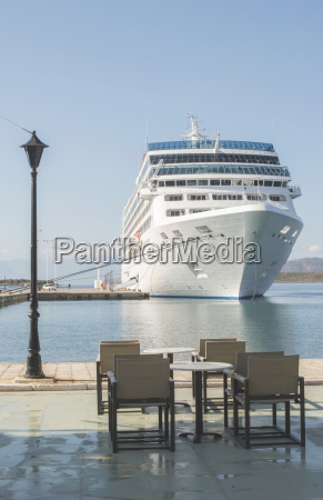 greece cruise liner moored at harbour