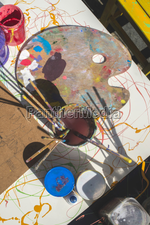 paints and childish painting equipment