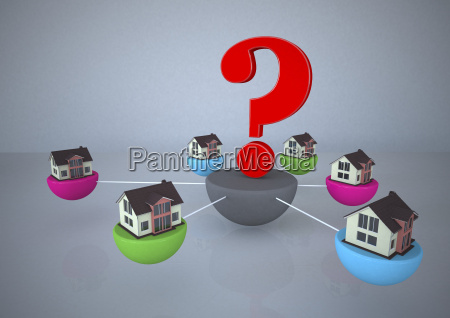 connected homes with question mark in