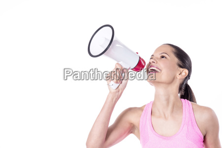 cheerful woman making an announcement