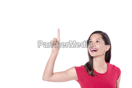 a woman pointing up isolated on