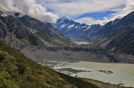 glacier lakes and distant view of