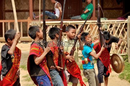 young warriors singing in nagaland india