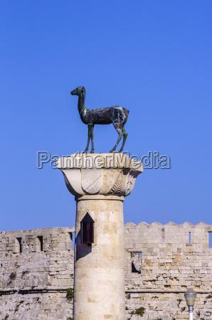 greece aegean islands rhodes statue of