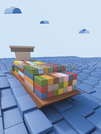 shipping container ship made of building