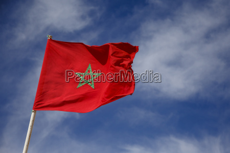 morocco moroccan flag in the sky